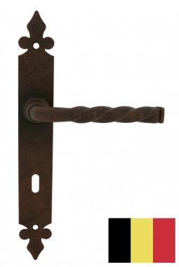 poign e de porte pas cher int rieure aux normes belges en aluminium imitation rouille sur plaque. Black Bedroom Furniture Sets. Home Design Ideas