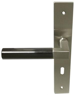 Poign e de porte int rieure en laiton nickel mat et for Porte interieure basique
