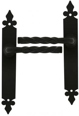 Poignée de porte intérieure pas cher en Aluminium noir sur plaque ...