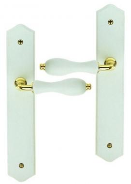 poign e de porte int rieure pas cher en zamak dor brillant et bois laqu blanc sur plaque bdc. Black Bedroom Furniture Sets. Home Design Ideas