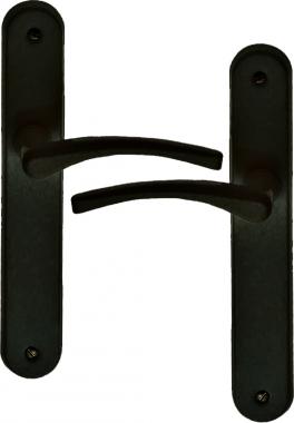 Poignée De Porte Dentrée En Aluminium Noir Mat Sur Plaque Bdc