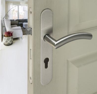 Plaques ronde de poign e de porte ext rieure velox fix fonction cl i en inox entraxe 195mm - Poignee de porte exterieure weiser ...