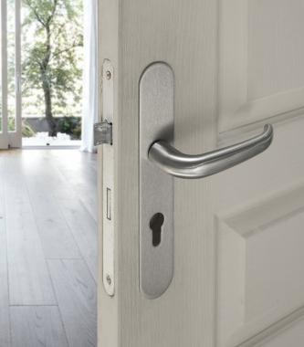 plaques ronde de poign e de porte ext rieure velox fix fonction cl i en inox entraxe 165mm. Black Bedroom Furniture Sets. Home Design Ideas