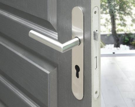 poign e de porte velox fix en inox sur plaque ronde cl i. Black Bedroom Furniture Sets. Home Design Ideas