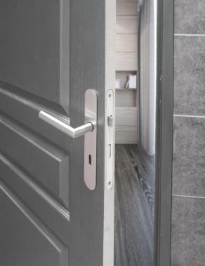 poign e de porte velox fix en inox sur plaque ronde cl l entraxe 165 mm alba poign e de porte. Black Bedroom Furniture Sets. Home Design Ideas