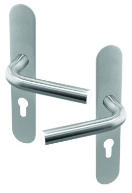 Poign e de porte velox fix en inox sur plaque ronde cl i - Poignee de porte ronde en bois ...
