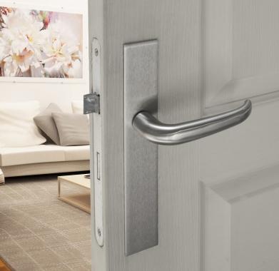 poign e de porte velox fix en inox sur plaque carr bdc entraxe 195 mm madrid bouton et. Black Bedroom Furniture Sets. Home Design Ideas