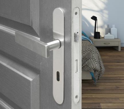 poign e de porte velox fix en inox sur plaque ronde cl l entraxe 165 mm malibu poign e de porte. Black Bedroom Furniture Sets. Home Design Ideas