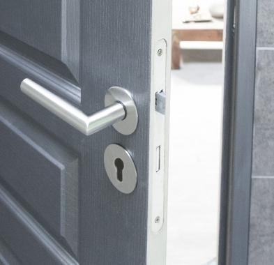 Poign e de porte velox fix en inox sur rosace ronde - Poignee de porte ronde en bois ...
