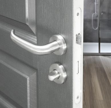 poign e de porte velox fix en inox sur rosace jupe ronde. Black Bedroom Furniture Sets. Home Design Ideas