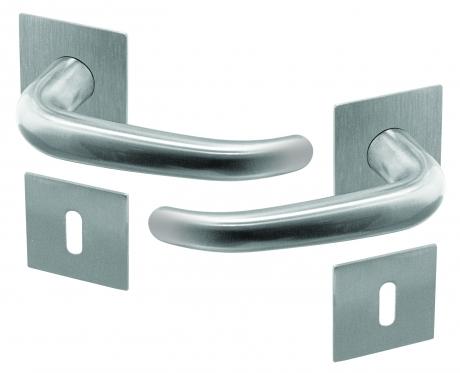 poign e de porte velox fix en inox sur rosace carr fonction cl l mod le madrid poign e de porte. Black Bedroom Furniture Sets. Home Design Ideas