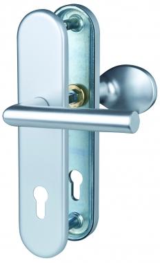 Poign e de porte d 39 entr e pali re de s curit plaque en aluminium cl i entraxe 210 mm alba - Poignee porte securite ...