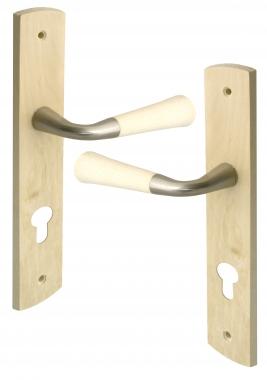 Poign e de porte int rieure en bois brut sur plaque cl l for Poignee de porte bois