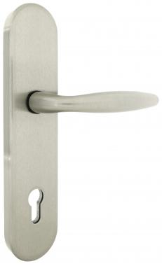 Poign e de porte d 39 entr e de s curit design en laiton sur plaque cl i haute securite normes - Poignee porte securite ...