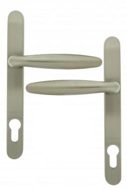 clenche de porte d 39 entr e en laiton finition nickel mat sur plaque cl i rapha la poign e de. Black Bedroom Furniture Sets. Home Design Ideas