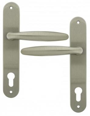 Clenche de porte d 39 entr e en laiton finition nickel mat sur plaque cl i rapha la ouvre et d co - Clenche de porte ...