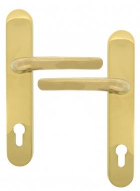Clenche de porte sur plaque en laiton cl i finition titane vega poign e de porte - Clenche de porte ...