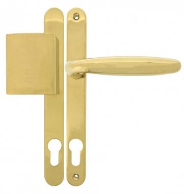 Clenche de porte d 39 entr e b quille pali re en laiton finition titane sur plaque troite cl i - Clenche de porte ...