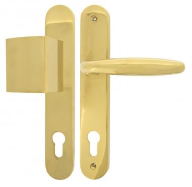 clenche de porte d 39 entr e b quille pali re en laiton finition titane sur plaque cl i rapha la. Black Bedroom Furniture Sets. Home Design Ideas