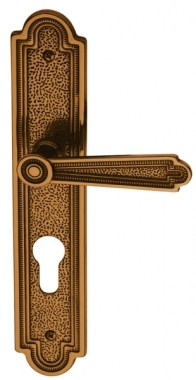 poign e de porte d 39 entr e en laiton patin sur plaque cl i entraxe 195 mm cheverny bouton et. Black Bedroom Furniture Sets. Home Design Ideas