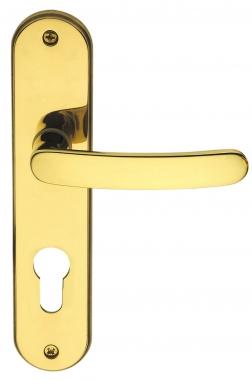 poign e de porte d 39 entr e design en laiton poli brillant sur plaque cl i entraxe 165 mm xenon. Black Bedroom Furniture Sets. Home Design Ideas