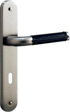 1 2 poign e de porte int rieure r versible design en m tal chrom mat et cuir noir sur plaque for Porte interieure noire