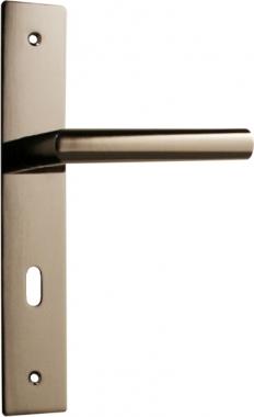 1 2 poign e de porte int rieure r versible design en m tal canon de fusil sur plaque cl l. Black Bedroom Furniture Sets. Home Design Ideas