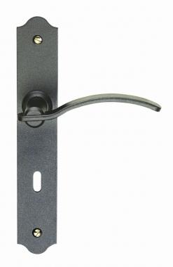 Poign e de porte int rieure rustique en fer forg patin - Poignee de porte avec condamnation ...
