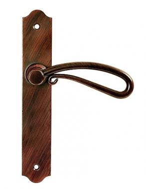 poign e de porte int rieure rustique en fer forg brun et cuivre sur plaque bec de cane entraxe. Black Bedroom Furniture Sets. Home Design Ideas