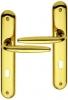 Poignée de porte intérieure design en laiton poli brillant PVD Titane sur plaque Clé L entraxe 195 mm, RAPHAËLA