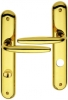 Poignée de porte intérieure design en laiton poli brillant PVD Titane sur plaque Conda/Déconda entraxe 195 mm, RAPHAËLA