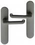 Poignée de porte intérieure pas cher en nylon gris foncé sur plaque BdC entraxe 165 mm à 195 mm, TUBULAIRE