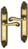 Poignée de porte intérieure en laiton patiné sur plaque Clé L entraxe 195 mm, LOUIS XV