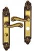 Poignée de porte intérieure classique en laiton patiné sur plaque Conda/Déconda entraxe 195 mm, LOUIS XV