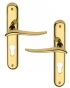 Poignée de porte d'entrée design en laiton poli sur plaque Clé I entraxe 195 mm, MARISA