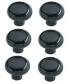 Lot de 6 boutons de porte et tiroir de meuble design noir Ø31mm, CONTEMPORAIN