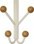 Porte-manteaux patère de porte à suspendre 4 têtes en métal laqué blanc et bois clair, LEO Quatro