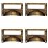 Lot de 4 poignées de porte ou tiroir de meuble en laiton rouillé 80X50 mm, COQUILLE Porte étiquette