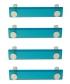 Lot de 4 poignées de porte ou tiroir de meuble design en acrylique translucide bleu atoll entraxe 96 mm, SQUARE Poignée