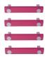Lot de 4 poignées de porte ou tiroir de meuble design en acrylique translucide rose fuschia entraxe 96 mm, SQUARE Poignée