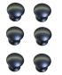 Lot de 6 boutons de porte et tiroir de meuble en zamak noir satin Ø30 mm, ROND