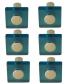 Lot de 6 boutons de porte et tiroir de meuble design en acrylique translucide bleu, SQUARE Bouton