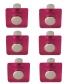 Lot de 6 boutons de porte et tiroir de meuble design en acrylique translucide rose, SQUARE Bouton