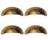 Lot de 4 poignées de porte ou tiroir de meuble en laiton doré vieilli, COQUILLE GM