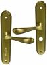 Poignée de porte intérieure classique pas cher en zamak patiné sur plaque Conda/Déconda entraxe 195 mm, LEONIE